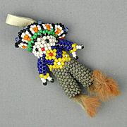 Vintage Southwest Hand-Beaded Figural Man Pendant