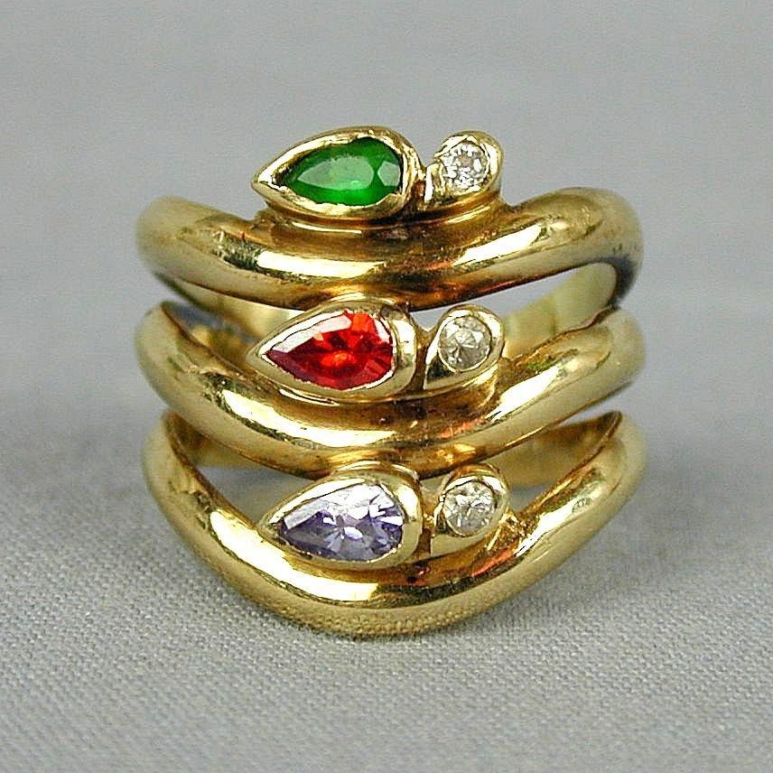 Vintage 14K Yellow Gold Tri Band Ring w/ Gemstones