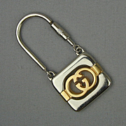 Vintage GUCCI Italy Key Ring - Silver / Gold Tone Metal