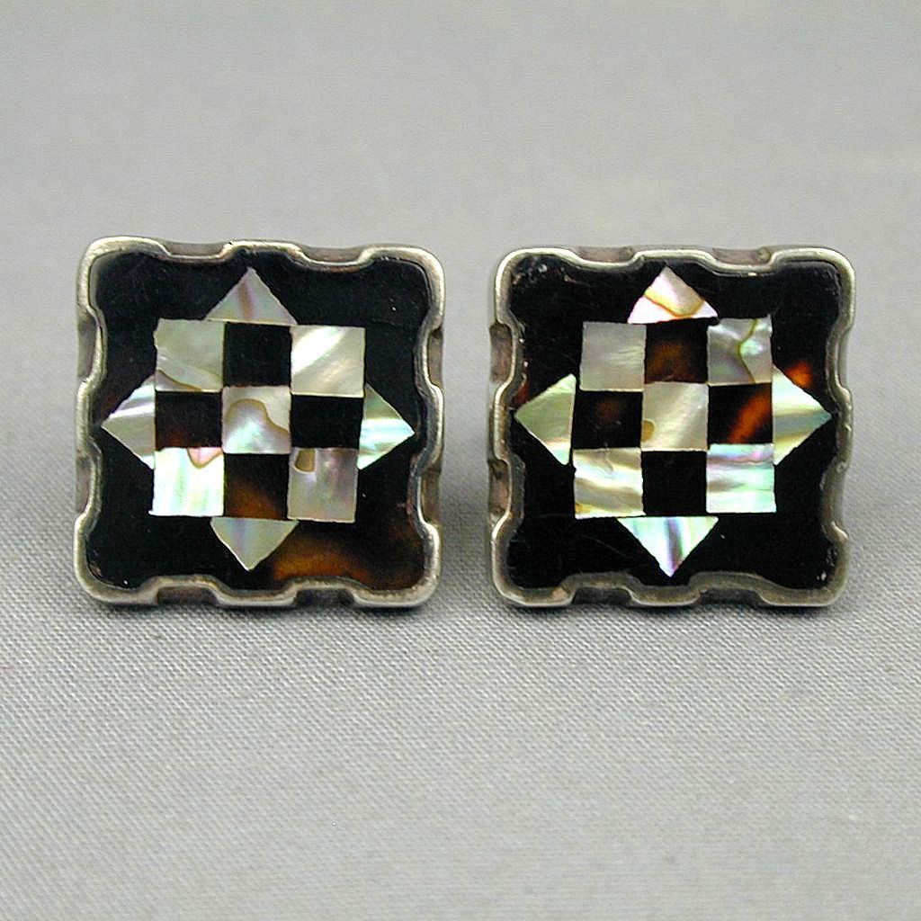 Mid-Century Mexican Cufflinks Sterling Silver Inlaid Onyx - Abalone