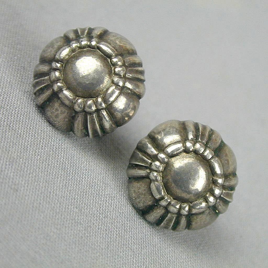 Modernist Georg Jensen Sterling Silver Denmark Earrings Screwback