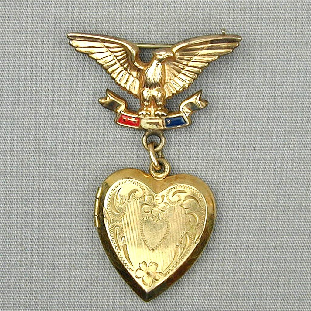 Love is a WWII Gold-Filled Eagle Heart Locket Pin