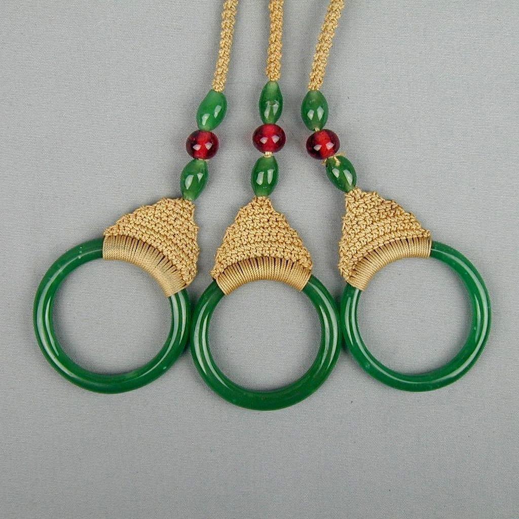 Old c1920 Peking Glass Shade Pulls w/ Beads Rings Crochet
