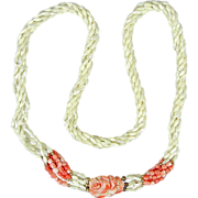 Vintage Carved Coral Mother-of-Pearl Bead Necklace 30 Inches