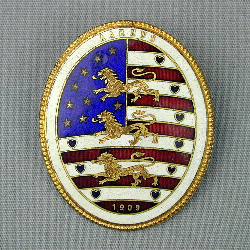 1909 AARHUS Danish National Exhibition Enamel Pin
