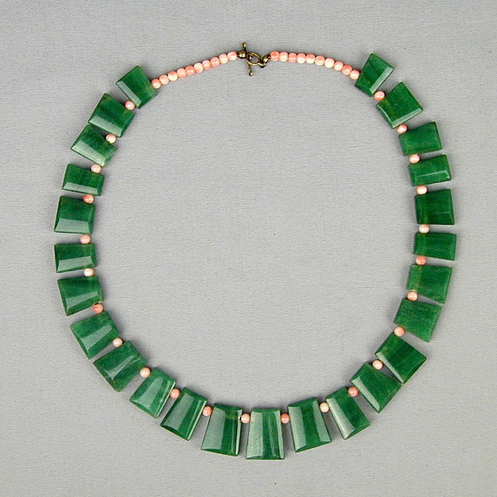 SOLD - Modernist Jade & Coral Bead Necklace - A Chunky Eyeful