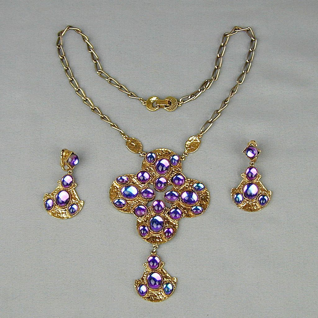 Hollycraft Demi Parure Rhinestone Pendant Necklace - Earrings