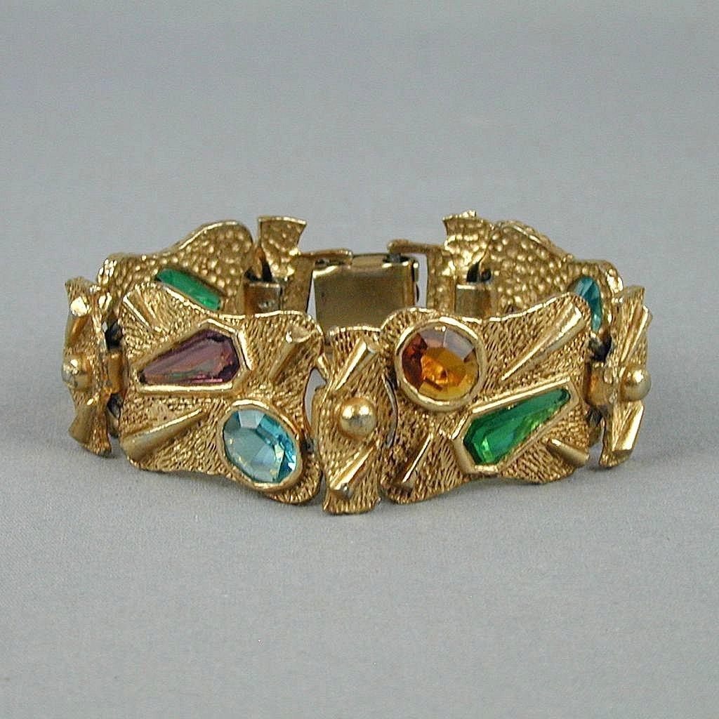 Vintage Faux Gold Bracelet w/ See-Thru Glass Cabochons