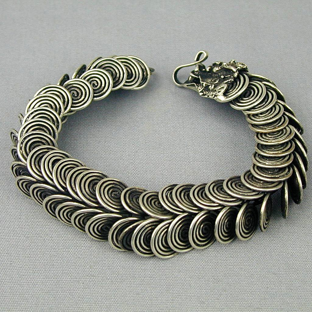 Vintage Coiled Wire Link Dragon Head Bracelet Mixed Metals