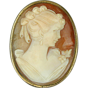 Art Deco Era Carved Shell Cameo Pin Pendant 800 Silver Vermeil