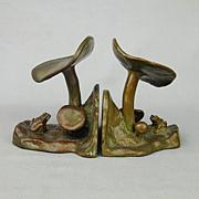 Art Deco McClelland Barclay FROG & MUSHROOM Bronze Bookends