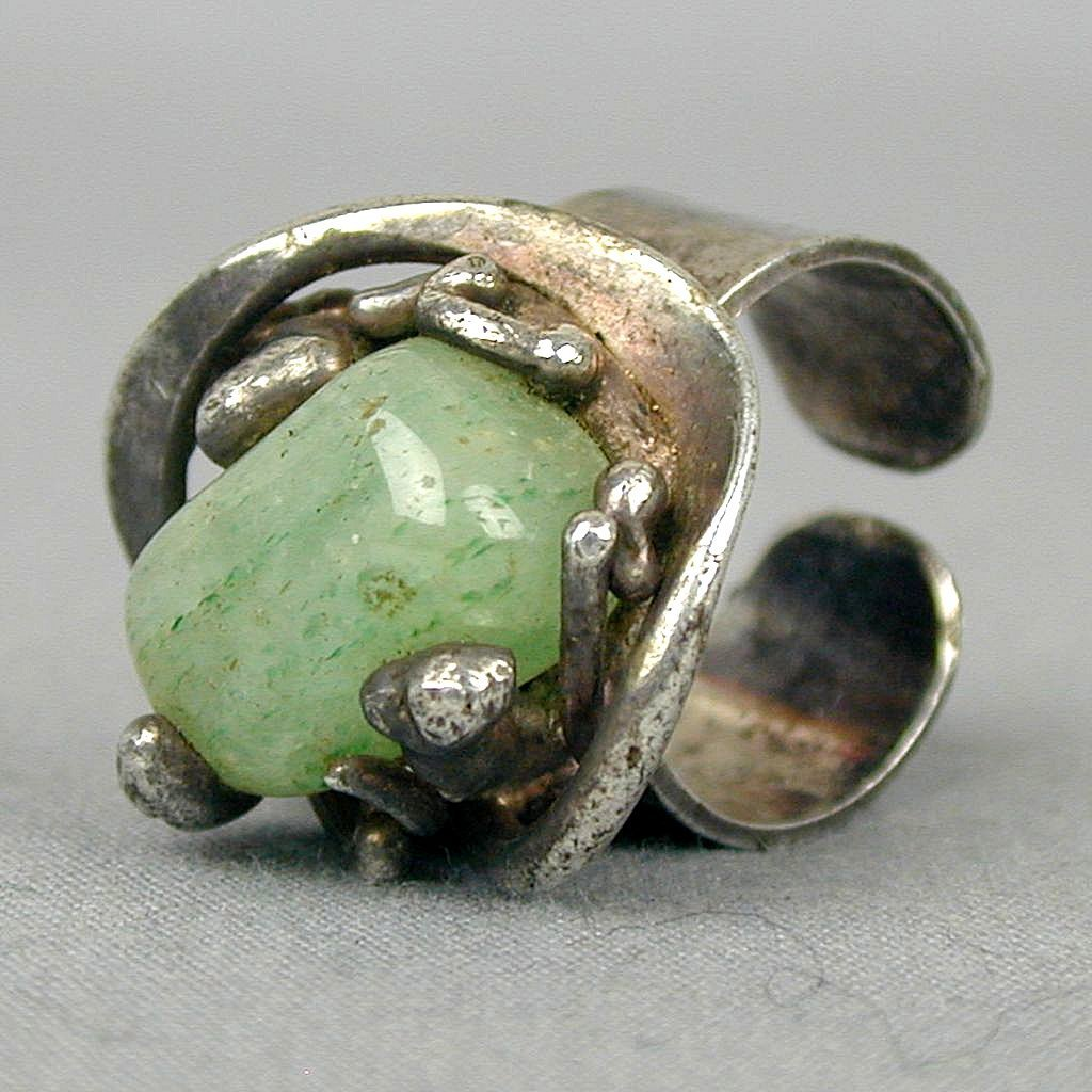Mid-Century Danish Abstract Sterling & Jade Ring - Denmark