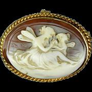 14K Gold Angel Lady & Cherub Carved Shell Cameo Pin - Pendant