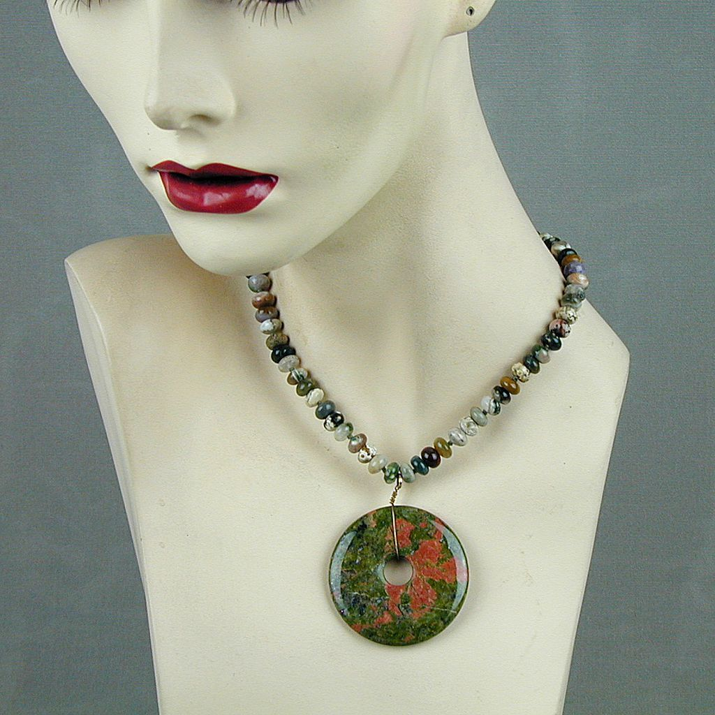 Vintage Kenneth Lane Polished Rocks Necklace Gemstones Bloodstone