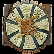 Big Modernist Mexican Copper Mixed Metals Cuff Bracelet