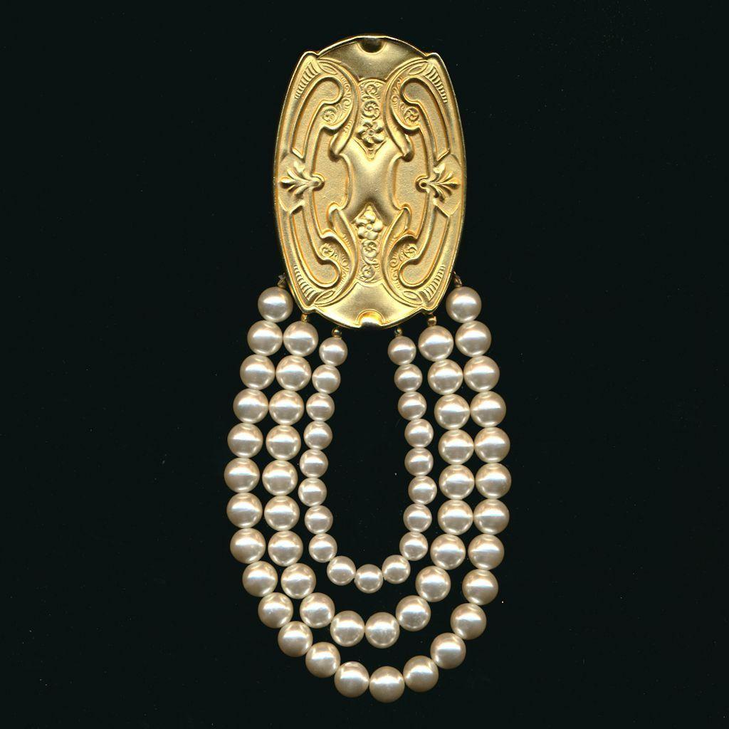 Vintage Art Nouveau Revival Pin / Pendant - Matte Gilt & Faux Pearls 7 Inches