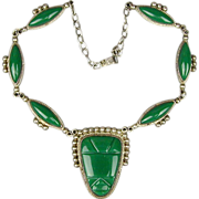 Vintage Mexican Sterling Silver Green Onyx Face Mask Necklace