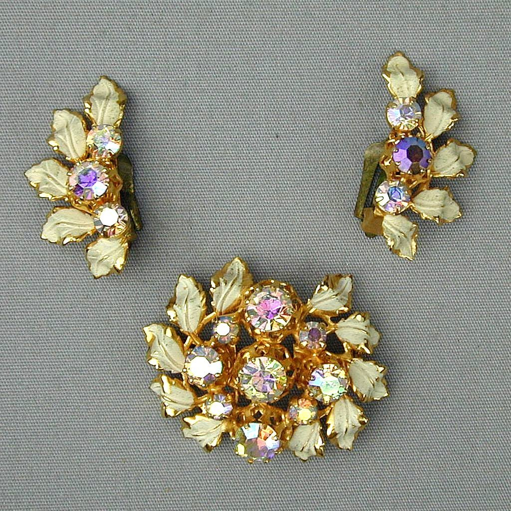 Vintage Austrian Crystal Rhinestone Enamel Pin Earrings Set