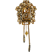 Art Deco Era Coro Pegasus Gilt Cuckoo Clock Fur Clip