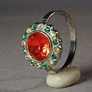 Art Deco Era Rhinestone Perfume Cocktail Ring