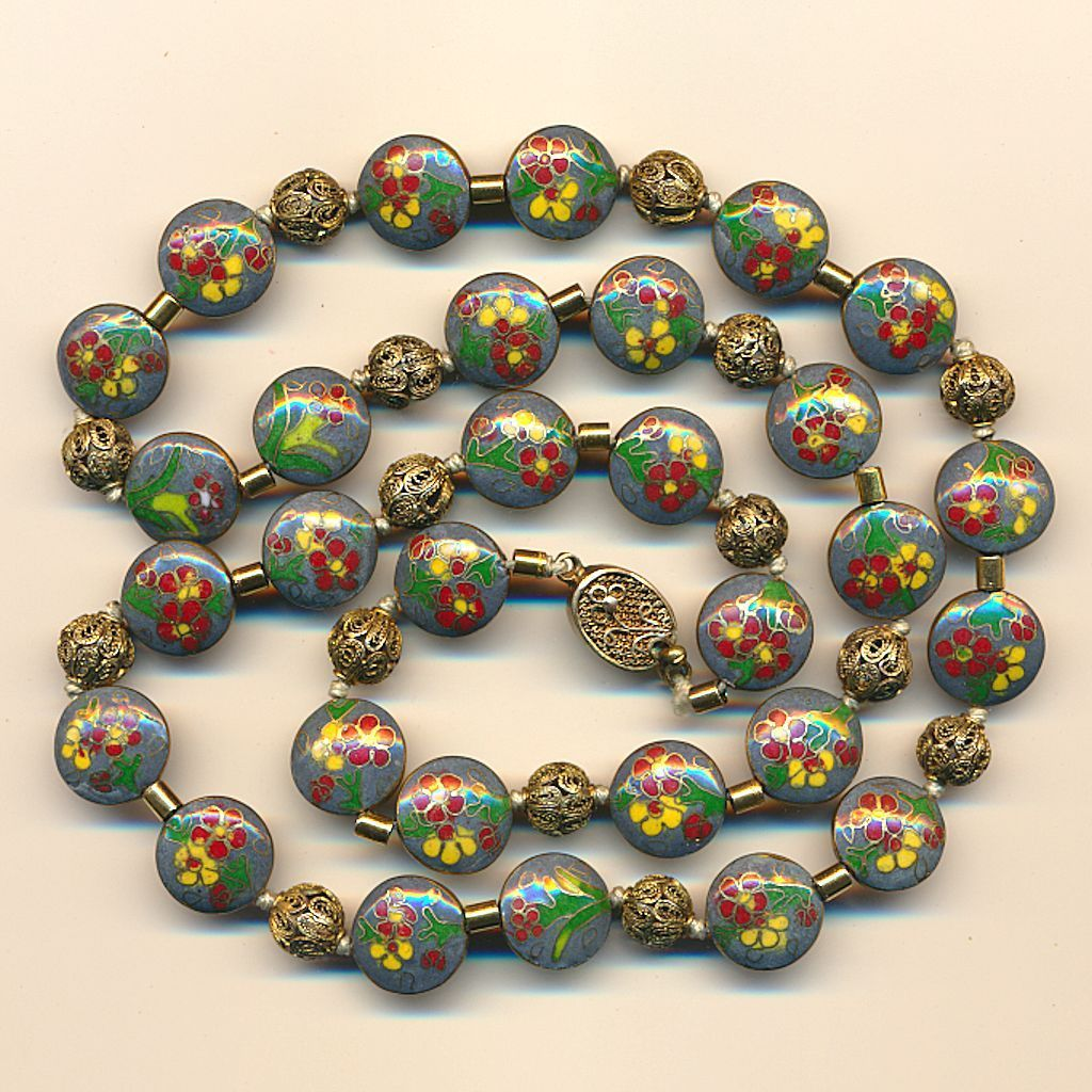 Vintage Chinese Cloisonne Disk Bead Necklace w/ Filigree 800 Silver Balls