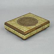 Mid-Century Mexican Brass Mosaic Stone Box w/ Aztec Calendar