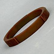 Rare Bluish Bakelite - Teak Wood Bangle Bracelet