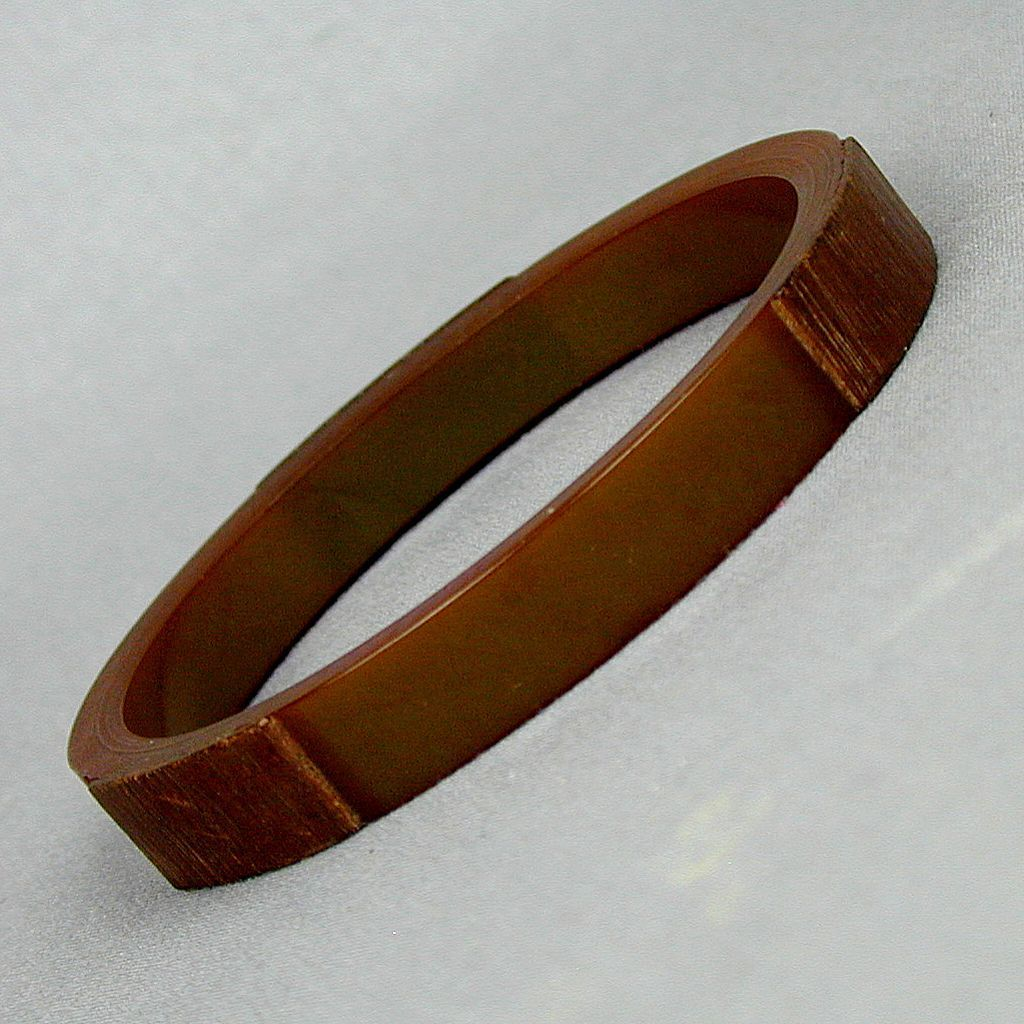 Rare Bluish Bakelite - Teak Wood Bangle Bracelet