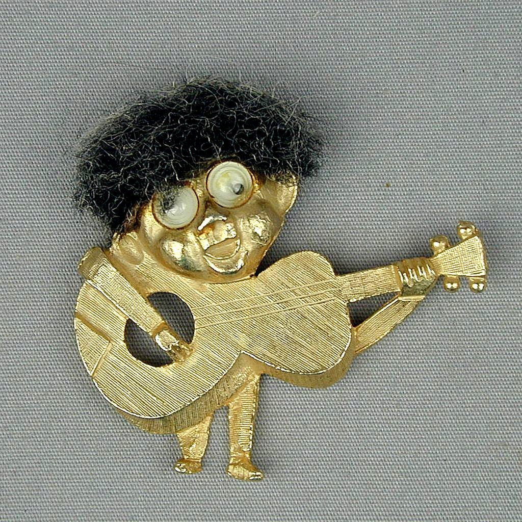 Vintage 1964 Beatles Pendant - Guitar - Hair - Googly Eyes