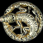 c1940 Deja Fleurs (Reja) Art Deco Era Alligator Fur Clip Pin