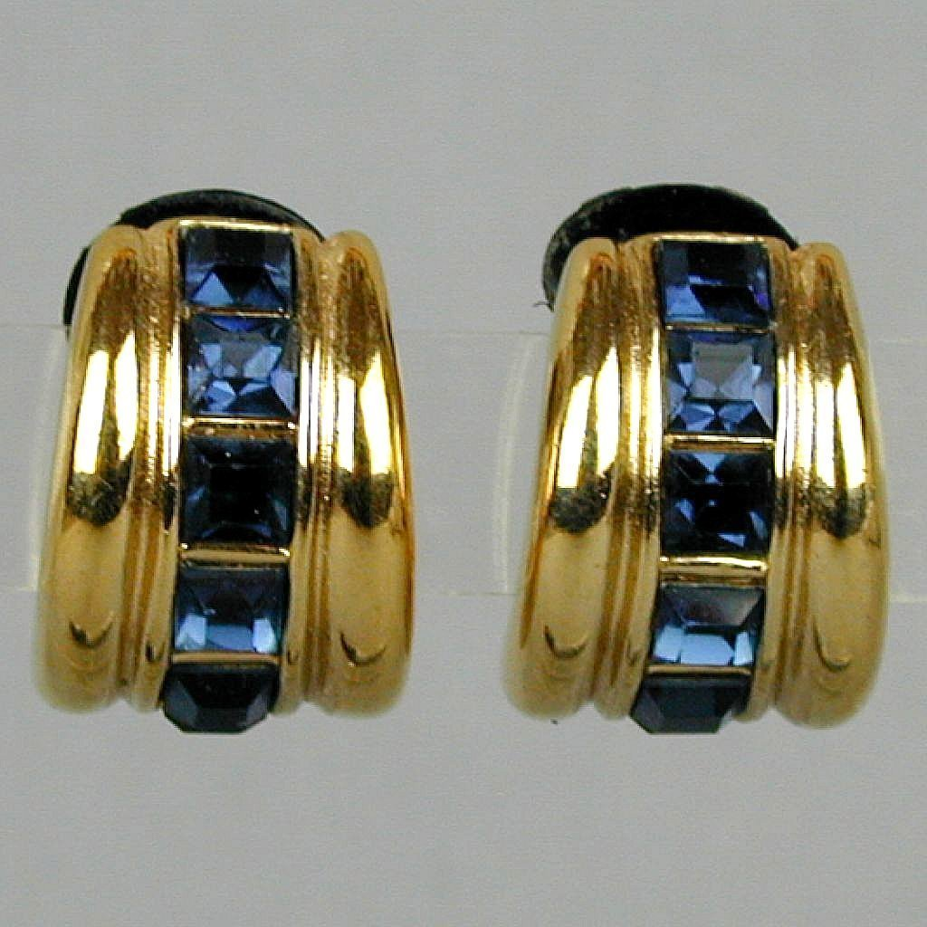 Bold Broadway 80s YSL Yves Saint Laurent Clip Earrings Faux Sapphires