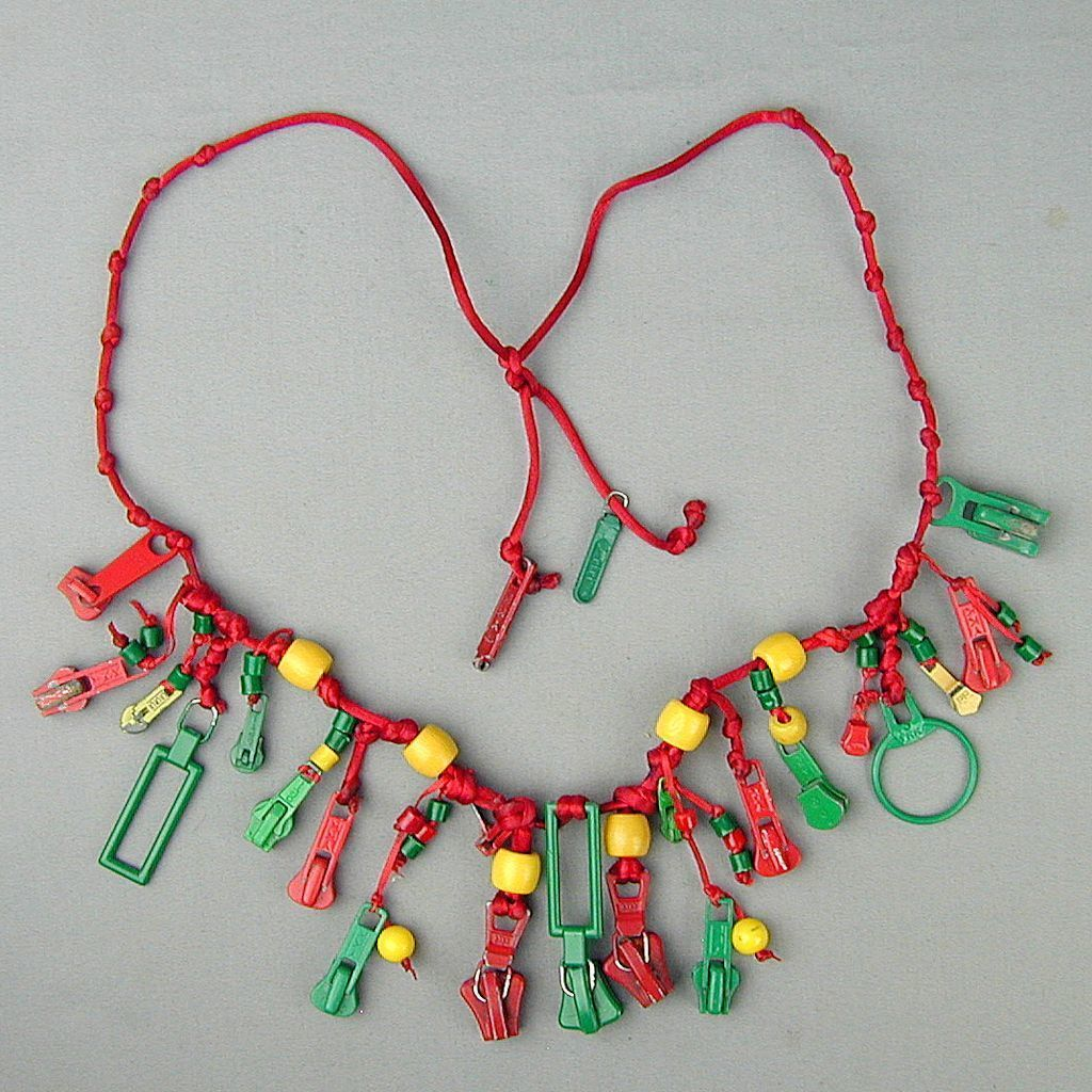 Vintage Crazy Novelty ZIPPER Necklace Colorful Pricey Zippers