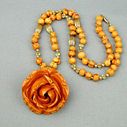Big Carved Bakelite Rose Pendant Necklace - 2 Inches