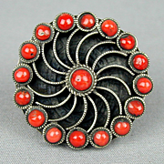 Vintage Sterling Silver w/ Red Coral Ring - Big Pinwheel