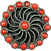 Vintage Sterling Silver w/ Red Coral Ring - Big Pinwheel