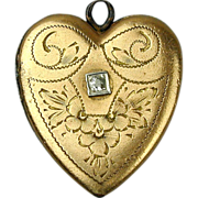 Victorian Era Gold-Filled Etched Heart Locket Pendant w/ Genuine Diamond