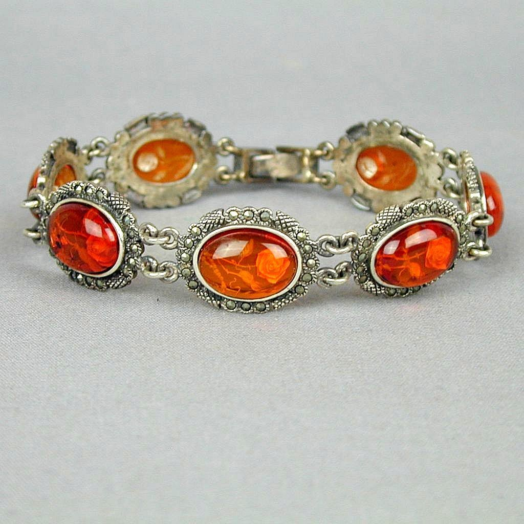 Reverse Carved Baltic Amber Roses in Sterling Marcasite Bracelet