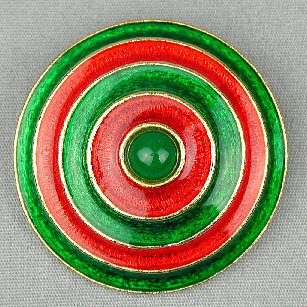 Vintage Florenza Bullseye Enamel Circle Pin Brooch