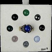 Vintage Nine-in-One Sterling Silver Marcasite Ring w/ Pop-In Gemstones
