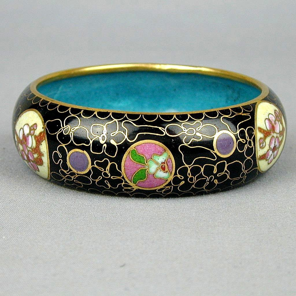 vintage black enamel cloisonne bangle bracelet