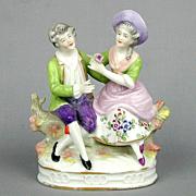 Vintage Sitzendorf Germany Porcelain Couple Figurine - Naughty Boy