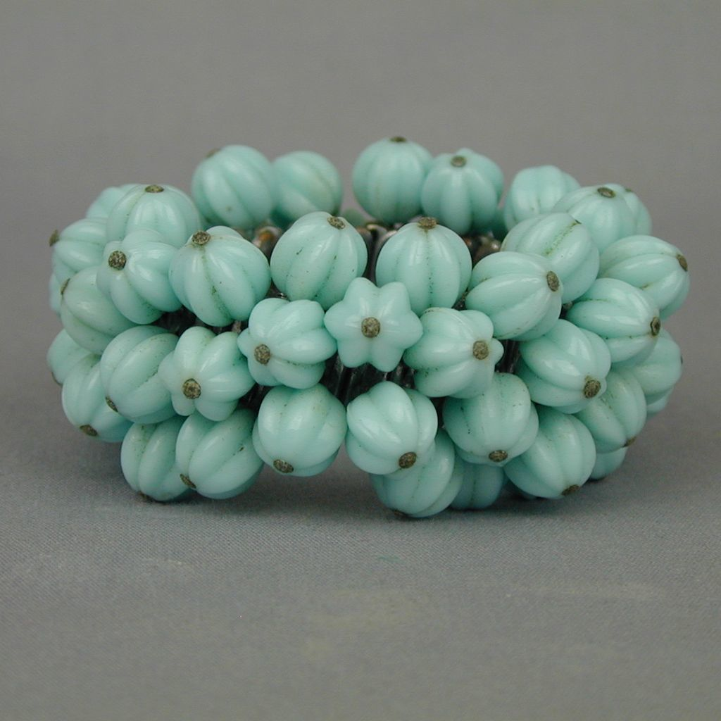 Vintage Molded Melon Glass Beads Cha-Cha Bracelet - Expands
