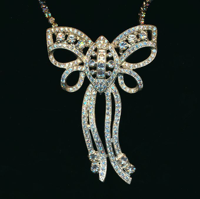 Big Art Deco Era Rhinestone Bow Necklace