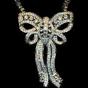 Big Art Deco Era Rhinestone Bow Necklace