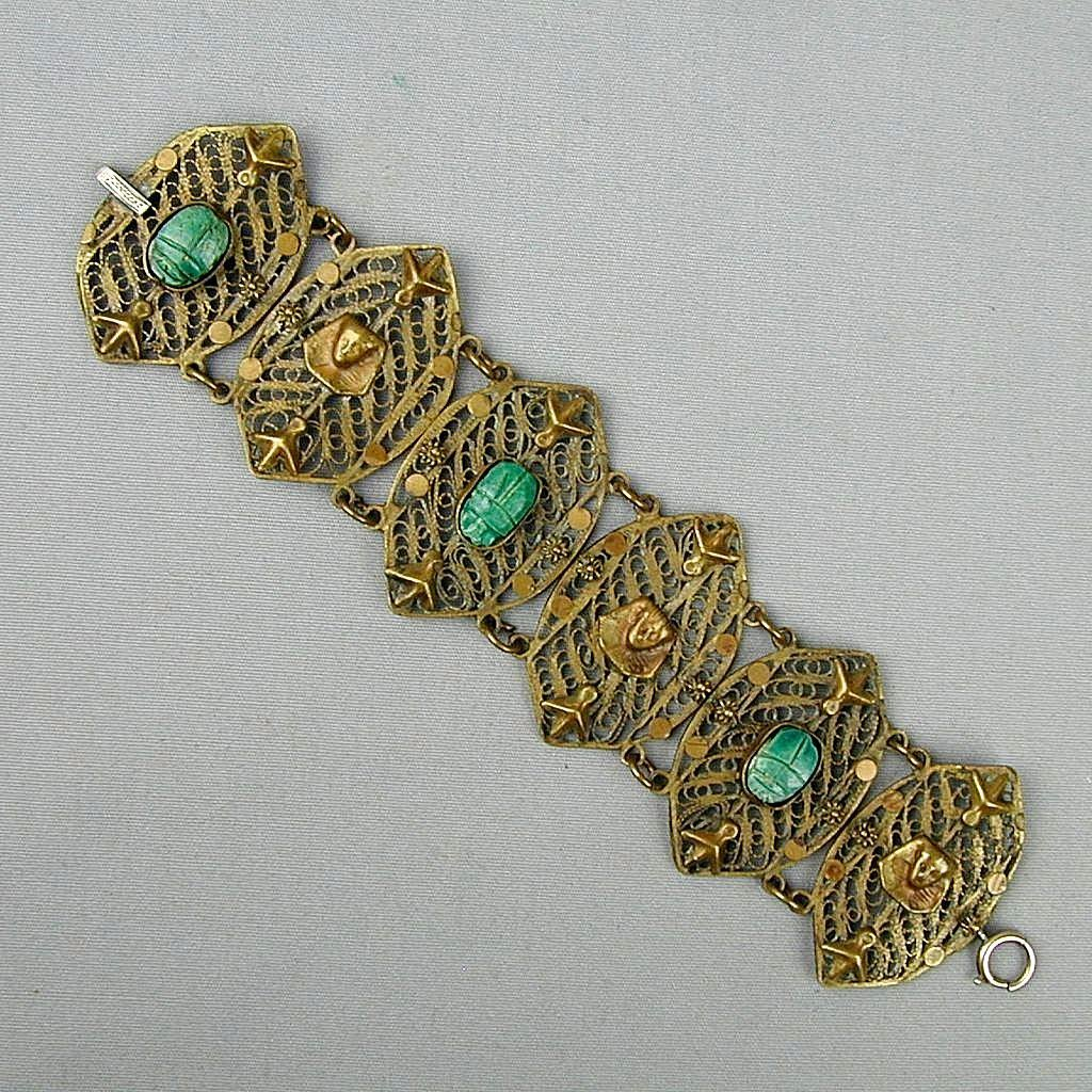 Vintage 1920s Gilded Silver Filigree Egyptian Scarab Bracelet