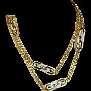 Vintage GIVENCHY Gilt Link Chain w/ Rhinestone Enamel Logo Design