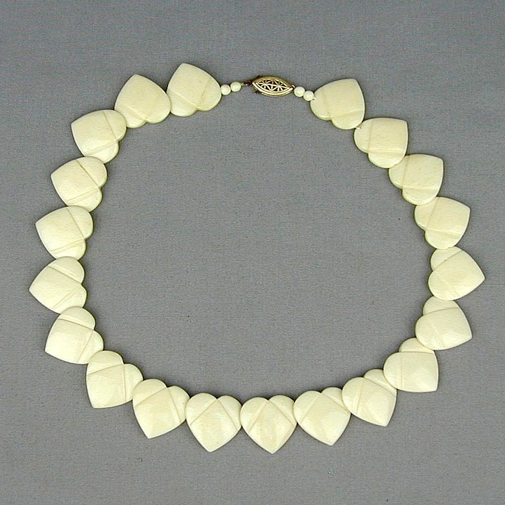 Vintage Carved Bone HEARTS Necklace