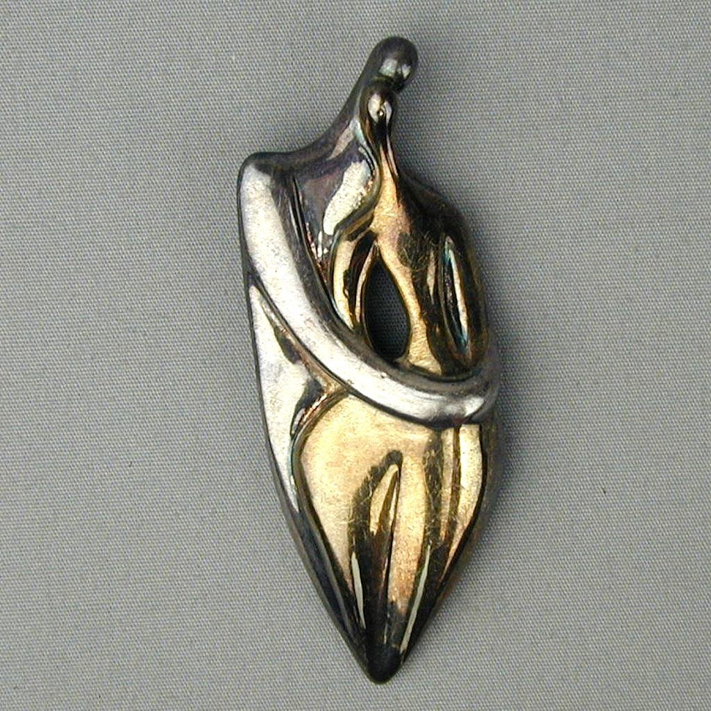 Modernist Ruth Bloch Sterling Silver Pin Pendant Entwined Couple Sculptural