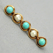 Precious Victorian 14K Gold Collar Bar Pin w/ Turquoise - Pearls