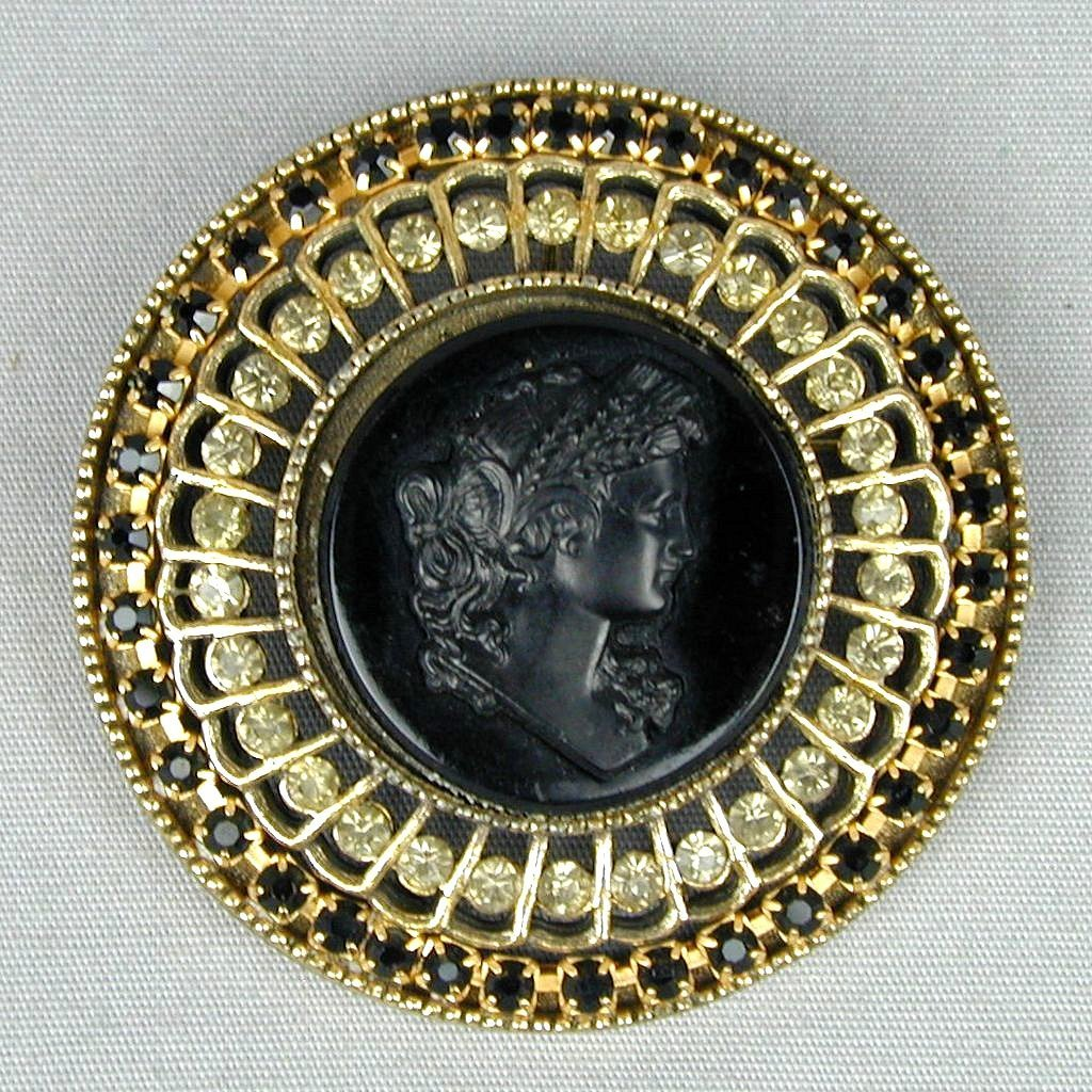Large Vintage Black Glass Cameo Pin Pendant w/ Rhinestones